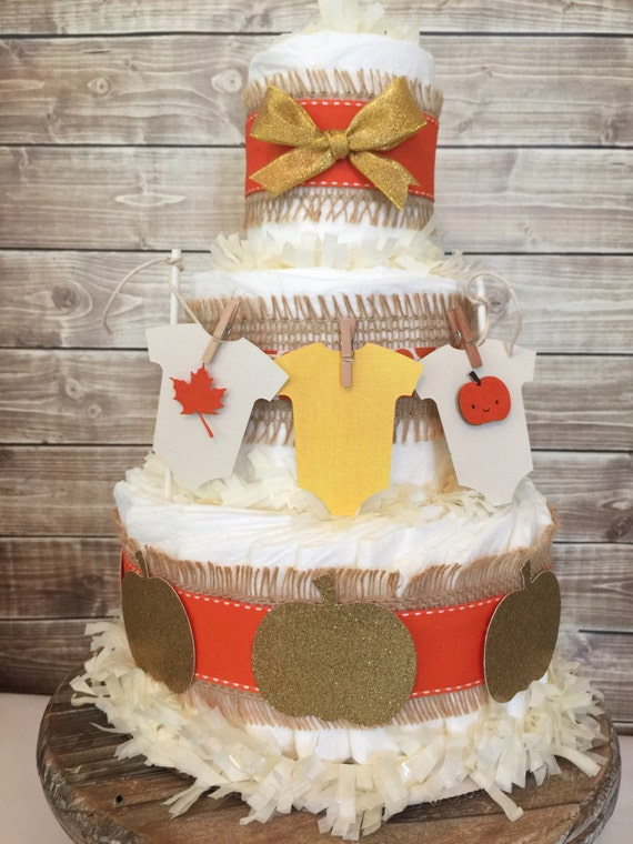 Fall Themed Baby Shower Cakes Part - 31: Fall Baby Shower Centerpiece, Fall Baby Shower Diaper Cake, Autumn Pumpkin  Baby Shower Decorations