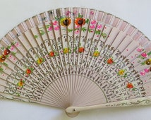Vintage Spanish Hand Painted fan/pink/wooden
