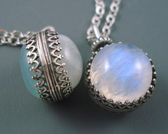 Moonstone Pendant and Chalcedony Pendant, 14MM Revolving, Reversible Pendant with Moonstone on One Side and Aqua Chalcedony on the Other