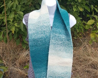 Super soft knit scarf, winter wear, holiday gift, woman scarf, scarves and wraps cream/teal