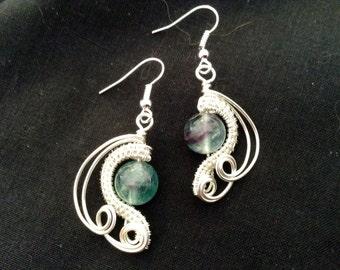 Wirework and fluorite earrings