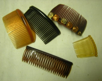 5 vintage hair combs-plastic hair combs-accessories-hair stylists-