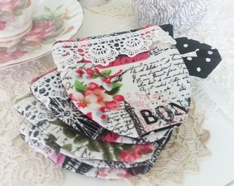 Shabby Chic French Teacup Paris Coasters, set of 6 *ready to ship