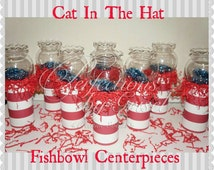 Glass Fish bowl Cat in the Hat Centerpieces with Birthday #