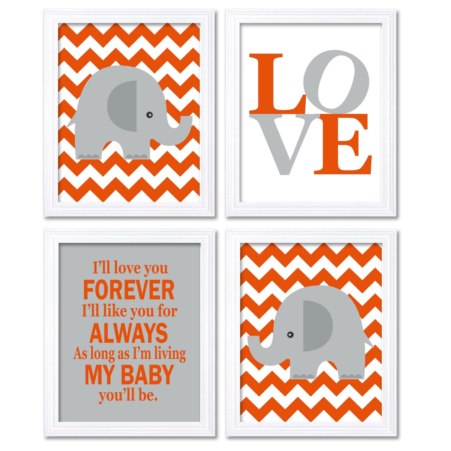 Elephant Nursery Art Giraffe Wall Decor Ill Love You Forever Set of 4 Prints Orange Grey Child Kids