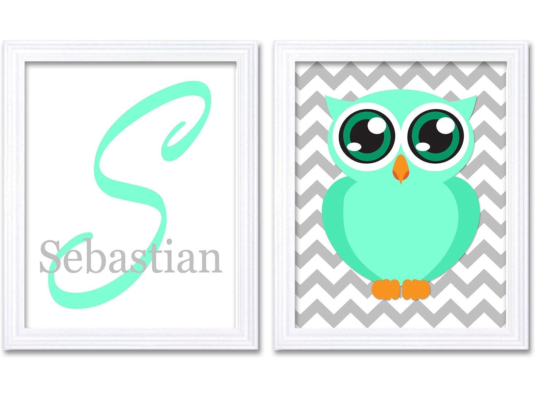 Owl Nursery Art Personalized Name Nursery Print Set of 2 Monogram Mint Green Grey Chevron Child Prin