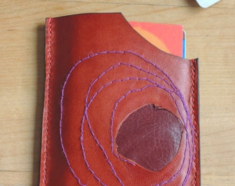 Leather  credit card holder wallet one of a kind men women handcrafted  goat and purple buffalo