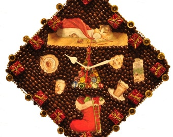 "Coffee Wall Clock "" New Year with the aroma of coffee """