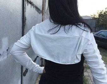 Shrug Bolero, Long Sleeved Shrug, Extravagant Ivory, Black or Grey Jersey Bolero Cotton Shrug Wedding Bolero
