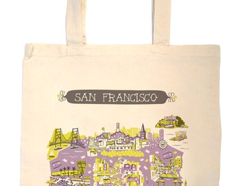 San Francisco Tote Bag-City Tote-California Tote-Any City Tote-Lavender-Chartreuse-Gray-Personalized-Custom