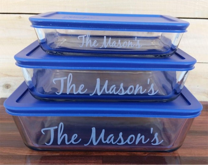 NokNoks Pyrex  Glass Storage  Dishes, 6 piece, engraved, 3, 6, 11 cup, Blue plastic lids, personalized
