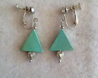 Vintage Turquoise Triangle Screw-back Earrings
