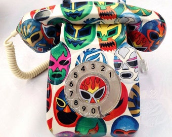 SALE - Mexican Wrestling Mask Lucha Libre Telephone  - Fully Functioning Genuine 700 series GPO Phone - Hand Decorated With Cotton Fabric