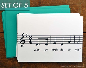 Music Birthday Card Set Of 5 Happy To You MUSIC NOTE Cards