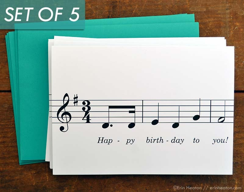 Music Birthday Cards Variety Pack of 5 Music Note Birthday – Birthday Cards with Music
