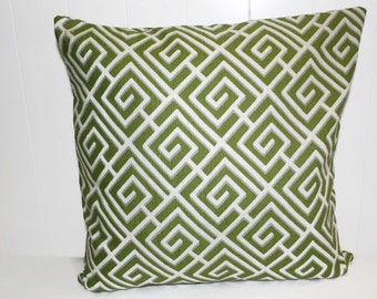 Decorative Millcreek Green and Gray Geometric Pillow Cover 12x16, 16x16, 18x18, Throw Pillow