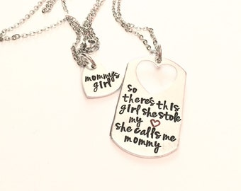 Mommy and Daughter Necklaces-Stole My Heart Mommy and Daughter Personalized Hand Stamped Necklaces