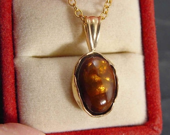 FIRE AGATE Pendant in 14K Solid Gold