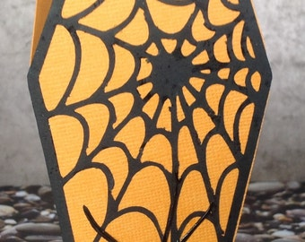 "Halloween coffin greeting card ""Cobweb"""