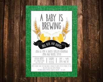A Baby is Brewing Baby Shower Invitation; Printable or set of 10