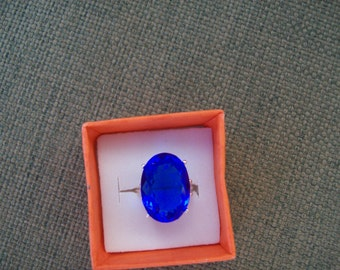 Created Electric Blue Sapphire Ring Sterling Silver - Huge 18x13 mm