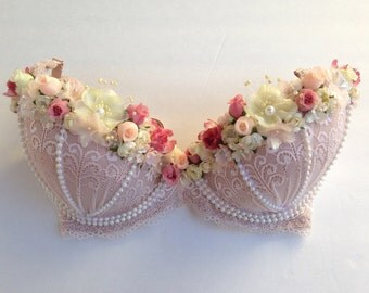 HARU (iii) Sweet lace and floral rave bra