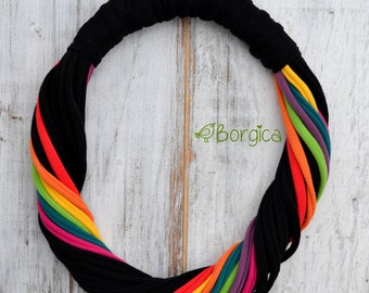 Rainbow Black Chunky Multistrand recycled fabric jewelry upcycled fiber necklace tshirt necklace