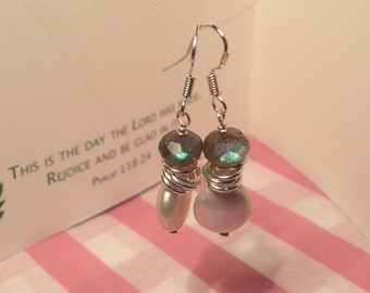 Labradorite and button pearl sterling silver earrings