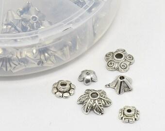 Bead Caps - Tibetan Style * Variety of Sizes & Styles * Metal Alloy * Antique Silver * 180 pieces * Bead Box Set Kit 027 *