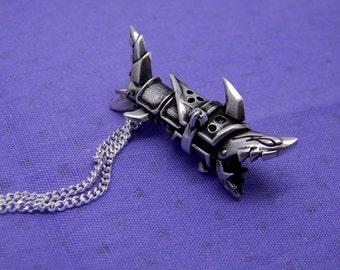 Jinx's necklace 925 sterling silver -  shark Cannon fishbones - jinx league of legends lol gun rocket launcher jewelry pendant chain weapon