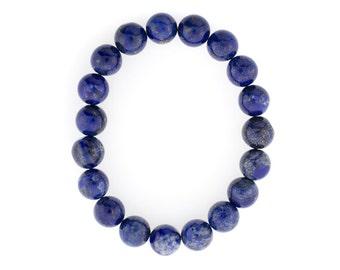 10mm Stretchy Lapis, 10mm Round Lapis, Elastic Lapis Bracelet, Lapis Beads, Lapis Jewelry, Wholesale