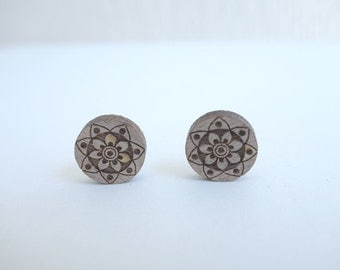 original woodcut Mandala earrings