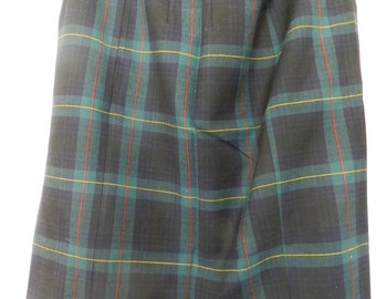 ITEM Of The Week-BARGAIN SALE-Vintage Skirt-Antonelle Pencil Skirt-Tartan-Navy-Green-Yellow and Red-Size 40-Parisian Style-Made in France