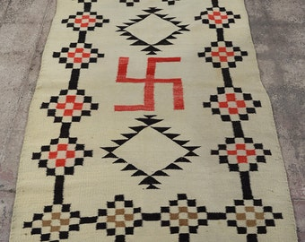 antique Native American Navajo Wool Rug w/Whirling log symbol c.1910