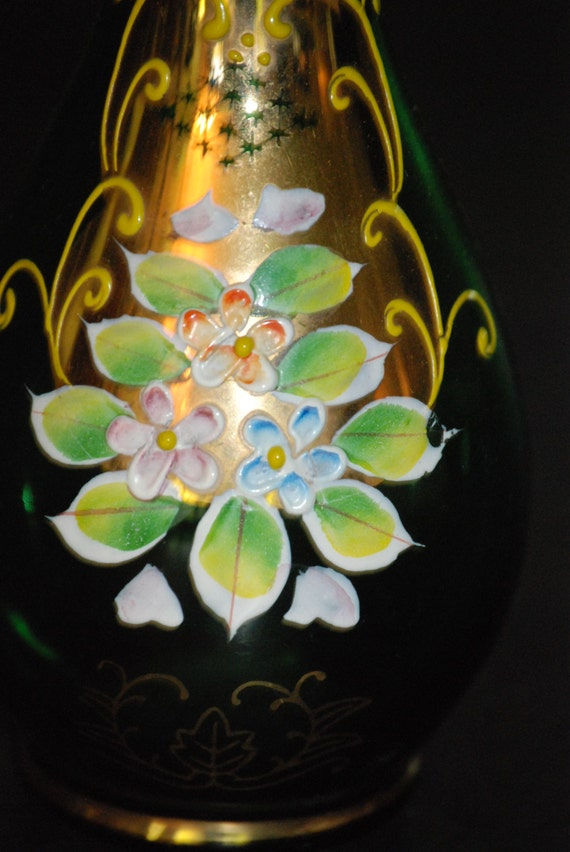 Antique Bohemian Czech Moser Glass Gilded Gold Green Floral