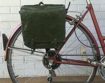 Czech Military Surplus Rubberized Shoulder Bag Vintage Bicycle Pannier