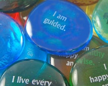 Imprinted Colored Glass Word Stones - Affirmation Phrases