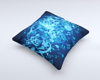 Glowing Blue Music Notes ink-Fuzed Decorative Throw Pillow