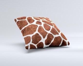 Real Giraffe Animal Print ink-Fuzed Decorative Throw Pillow