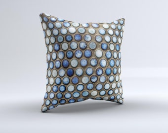 The Blue Tiled Abstract Pattern ink-Fuzed Decorative Throw Pillow