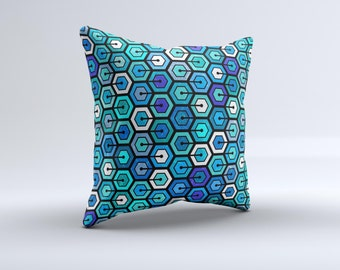 Blue and Green Vibrant Hexagons ink-Fuzed Decorative Throw Pillow