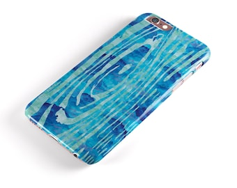 Blue Watercolor Woodgrain - iNK-Fuzed Hard Case for the Apple iPhone - Samsung Galaxy & More