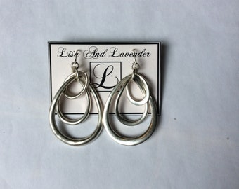 Handmade silver plated dangling earrings