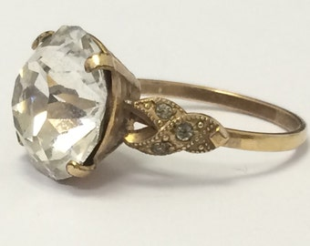 Antique 1/30 14 K R.G.P Fancy Clear Stone Ring 14K Rolled Gold Plated Size 8.25