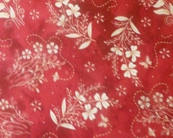 BLOWOUT SALE- In Stitches~Flowers on Red~Cotton Fabric, Quilt, Home Decor~Maywood Studio~Fast Shipping F501