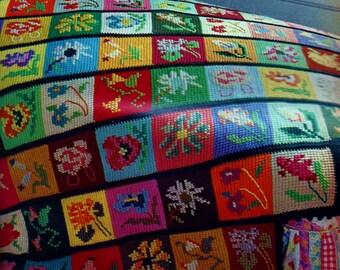 Flower Embroidered Afghan Vintage Crochet Pattern Download