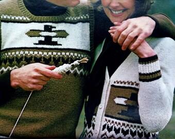 His Native American Style Thunderbird Vest and Her Matching Thunderbird Cardigan PDF Knitting Pattern
