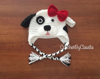 Dalmatian Crochet Beanie PhotoProp/ Made to Order