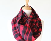 Red Plaid Flannel Scarf, Infinity Scarf, Cowl, Loop Scarf, Red Plaid, Red and Black, Plaid Flannel, Buffalo Plaid, Cotton Flannel, Winter