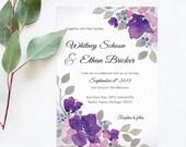 Purple Wedding Invitations –Ultra Violet Wedding Invitations – Printable Wedding Invitations – Watercolor Wedding Stationery - Ultra Violet